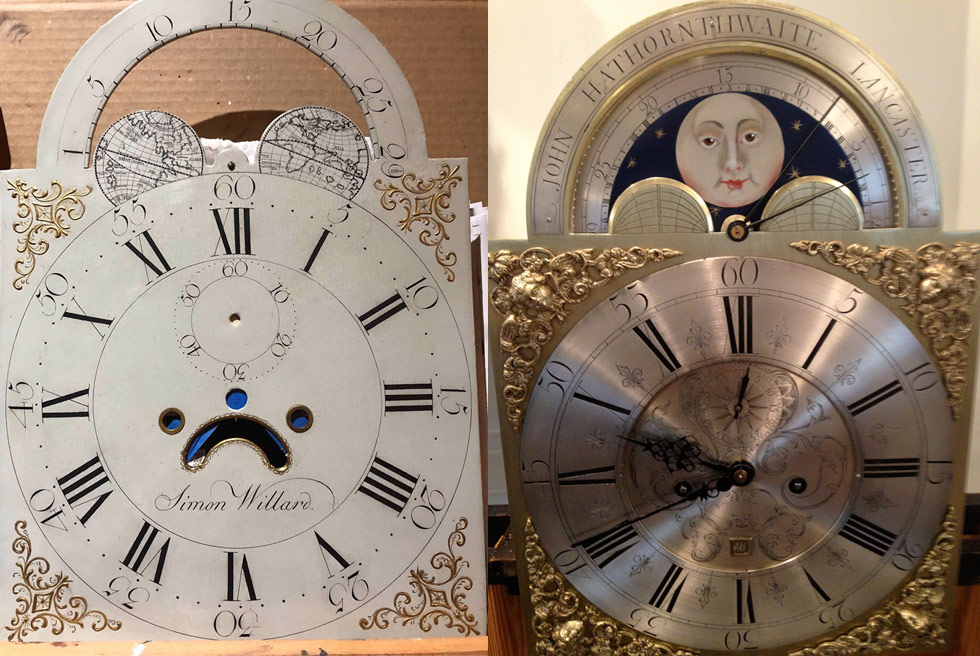 Restored Simon Willard and John Hawthorn clock dials